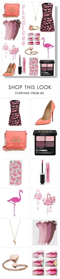 """""""Flamingo - Make your inner flamingo proud ♡"""" by queenmadhatteres ❤ liked on Polyvore featuring RED Valentino, Christian Louboutin, Sophia Webster, Gucci, Skinnydip, Marc Jacobs, LC Lauren Conrad, Alex and Ani and Vintage"""