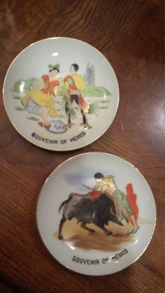 Pair of Vintage Souvenir Mexico Plates by 3LittleWitches on Etsy