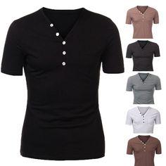 Sale 29% (13.99$) - Men Cotton Button Plain Short Sleeve Henley T-shirt
