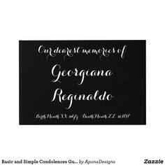 Shop Basic and Simple Condolences Guestbook created by AponxDesigns. Funeral Memorial, Birth And Death, Condolences, Guest Books, Messages, Memories, Simple, Souvenirs, Remember This