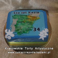 076. Fototort z mapą Hiszpanii. Cake with a map of Spain.