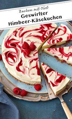 Whirled raspberry cheesecake (without baking)-Geswirlter Himbeer-Käsekuchen (ohne Backen) ideas bake - Healthy Dessert Recipes, Health Desserts, Healthy Baking, Easy Desserts, Dessert Simple, Bon Dessert, Fruit Dessert, Dessert Ideas, Raspberry Cheesecake