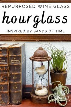"""Turn broken wine glasses into this unique """"Sands of Time"""" inspired hourglass. The tutorial includes how to make miniature sandcastles and a tiny treasure chest. #wineglassrepurpose #SandsofTime #uniquedecor #acraftymix #hourglassdecor Diy Crafts For Gifts, Diy Home Crafts, Handmade Crafts, Glass Fit, Wine Glass, Diy Halloween Decorations, Halloween Diy, Repurposed Items, Tiny Treasures"""