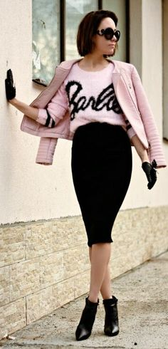 Black Body-con Pencil Knee-length Skirt by J'adore Fashion