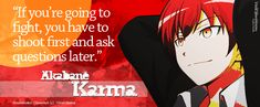 Akabane Karma Banner by ValElfenMoon | YEAH! Aim for the leg so they couldn't run, then aim for the hands so they couldn't grab a weapon. - DA
