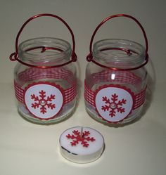 Baby food jars recycled into tea light candle holders