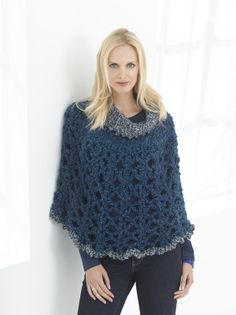 Poncho With Cowl by Lion Brand Yarn crochet (Easy level 2) Homespun Thick & Quick