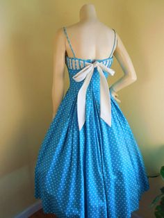 Vintage 1950s Dress Polka dot Bow dress Small Size Turquoise