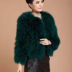 1b80024f20b 2016 Ladies Real Fur Ostrich Feather Fur Coat Jacket Women Winter Fashion  41002