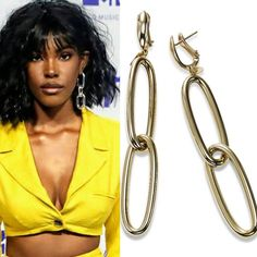 Actress and singer Diamond White wore what turned out to be one of the signature looks of the evening at the VMAs: BIG earrings and bright colors. Her long oval loops reminded us of Fortunoff's 14k yellow gold pair, which are 3 inches long - still big enough to add drama. Ours are made in Italy.