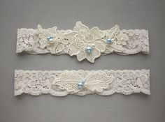 Light Blue Pearls & Ivory Lace  Bridal by GillyflowerGarters, $26.50