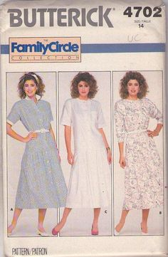 MOMSPatterns Vintage Sewing Patterns - Butterick 4702 Vintage 80's Sewing Pattern SWELL Family Circle Collection Retro Waitress Look Drop Waist Front Buttoned Coat Dress, Day Dress 3 Styles Size 14