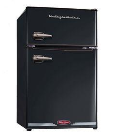 Black Retro Compact Refrigerator/Freezer