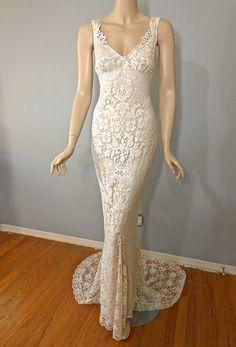 Angelic Hippie Cream LACE Wedding DRESS Boho Bride by MuseClothing