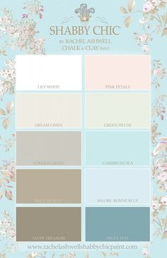 Shabby Chic by Rachel Ashwell Chalk & Clay Paint Palette, rally like Truly Teal, Lily White, Green Fields, London Light, Caribbean Sea.