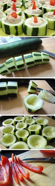 Cucumber, hummus & red pepper appetizer - 15 Refreshing Cucumber Appetizers | GleamItUp