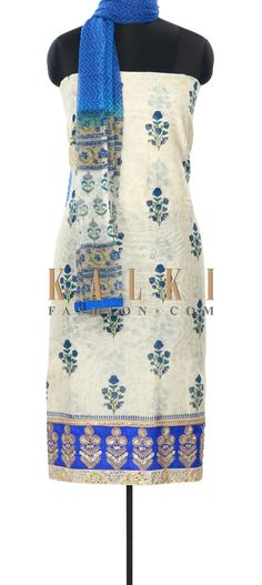 Buy Online from the link below. We ship worldwide (Free Shipping over US$100) Price- $69 Click Anywhere to Tag http://www.kalkifashion.com/cream-unstitched-suit-enhanced-in-print-and-sequin-work-only-on-kalki.html