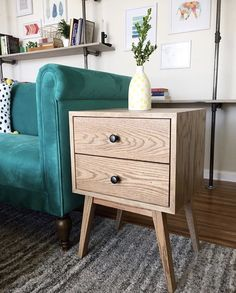 Mid-century modern nightstand woodworking project.