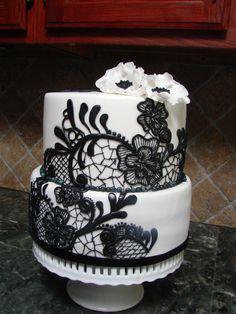 bridal shower cake black on white