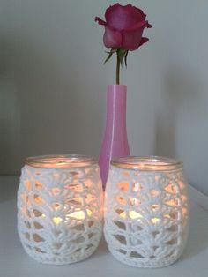 Crochet jar cosy made with this tutorial : www.fondrari.blogspot.com.au/2013/11/crochet-jar-cover-pattern.html