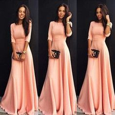 online shopping 2017 Cheap Modest Coral Pink Long Prom Dresses With Half Sleeves A line Floor Length Evening Party Guests Dress Bridesmaid Gowns