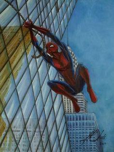 Mixed Media on Paper. Spiderman, Mixed Media, Paper, Artwork, Spider Man, Work Of Art, Auguste Rodin Artwork, Artworks, Illustrators