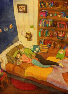 """""""Reading me a book"""" by Puuung """"-I lay with you while you read your book around. The words are meaningless to me. All I here is your sweet voice."""" Sooo cute ^^"""