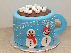 Let it snow mug cake food cake christmas xmas christmas food christmas treats Christmas Cake Designs, Christmas Cake Decorations, Christmas Cupcakes, Christmas Sweets, Holiday Cakes, Christmas Cooking, Xmas Cakes, Christmas Snowman, Chocolate Christmas Cake