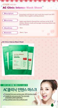 Mask Sheet & Patch : [ETUDE HOUSE] AC Clinic Intense Mask Sheet - 3pcs