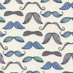 Fabric... Organic Mustache in Blue by Timeless Treasures