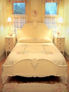 Antique White French Bed - Full or Queen Size