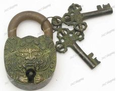 shopping24x7 : Vintage Solid Brass Chinese Dragon Face Padlock W/Keys