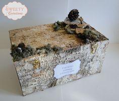 urne coffre recouverte d'écorces de bouleau             /             birch wedding card box