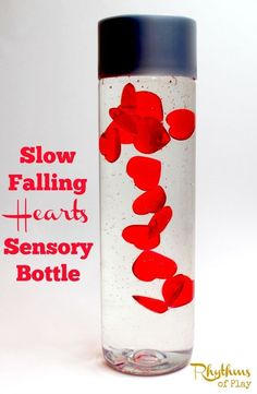"""Slow falling hearts sensory bottle is the perfect Valentine's Day calm down jar. Discovery bottles like this are commonly used for no mess sensory play, to help calm an overwhelmed child, as a """"time out"""" timer, or as a meditation technique for children. Valentine Sensory, Valentines Day Activities, Valentine Day Crafts, Valentines Robots, Science Valentines, Valentine Theme, Calm Down Jar, Calm Down Bottle, Sensory Activities"""