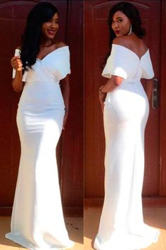 White Off-the-Shoulder Short Sleeves Sheath Satin Prom Dresses 2017