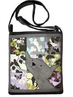 Happy Cat Bag with Zipper Grey Messenger Bag with by ifONA on Etsy