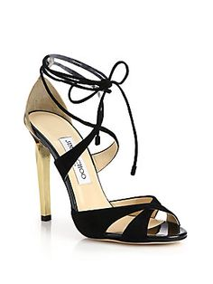 Jimmy Choo Teira Suede & Patent Leather Lace-Up Sandals  AED 3535.63