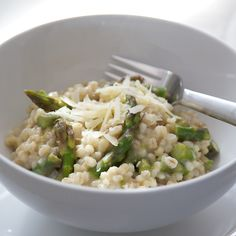 Super easy recipe. Barley Risotto w/ Asparagus tips. Update: Made this recipe.. it was okay if you want to try a new barley recipe. I wouldn't make it regularly, but it was def good.