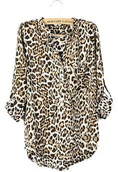 Brown Leopard Long Sleeve V-neck Curved Hem Blouse