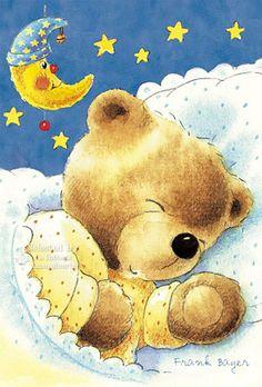 little bear sleeping kids art