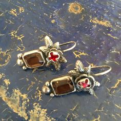 Mexico City Amber Earrings with Shiny Red Stones, Sterling Silver