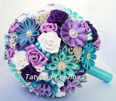 Brooch bouquet Fabric bouquet Wedding Bouquet purple by LIKKO