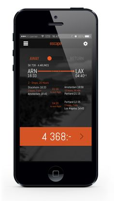 This app which I believe is used for scheduling flights with airlines is very clean and attractive. The contrast between the white, orange and black is very nice and not too overbearing to look at. the organization of the type is also nice and helps pull together a useful and easy to use interface.