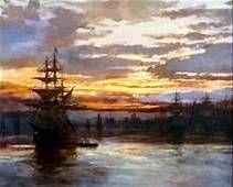 Harbor and Masted Ship-Albert Bierstadt