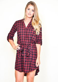 Love this casual and cozy flannel dress!