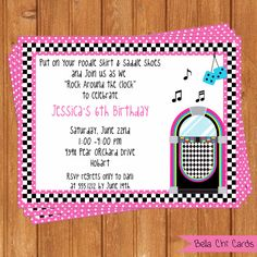 Sock Hop Kids Birthday Invitations KBI300DIY  5.5 by BellaChiCards, $14.00