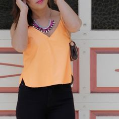 HOST PICK ASTR Orange Faux Leather Cami HOST PICK - Wardrobe Goals Party 1/4/16 ASTR Orange Faux Leather Cami. Purchased from Nordstrom. Worn twice. ASTR Tops Tank Tops
