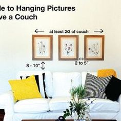 Here's an easy guide to hang pictures above a couch, sofa, lounge chair etc…. Here's an easy guide to hang pictures above a couch, sofa, lounge chair etc… Art Over Couch, Above Couch Decor, Shelves Above Couch, Wall Behind Couch, Mirror Above Couch, Regal Design, Lounge Chair, Hanging Pictures, Pictures Above Bed