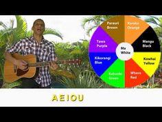 Translation: Mā is white Whero is red Kākāriki is green Pango is black Mangu is too AEIOU Kowhai yellow Parauri brown Kikorangi blue Karaka is our orange AEI. Purple And Black, Blue Yellow, Orange, Green, Sing Along Songs, Singing, Youtube, Maori, Youtubers