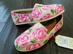 Lilly Pulitzer Inspired Roses TOMS by LaQuist #laquist - order by request at www.etsy.com/shop/laquist - visit www.laquist.com/gallery to see more custom painted TOMS, Converse, Vans, Keds, and wedges shoes by artist Lauren Rundquist